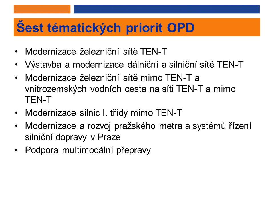 Šest tématických priorit OPD Modernizace železniční sítě TEN-T Výstavba a modernizace dálniční a silniční sítě TEN-T Modernizace železniční sítě mimo TEN-T a vnitrozemských vodních cesta na síti TEN-T a mimo TEN-T Modernizace silnic I.