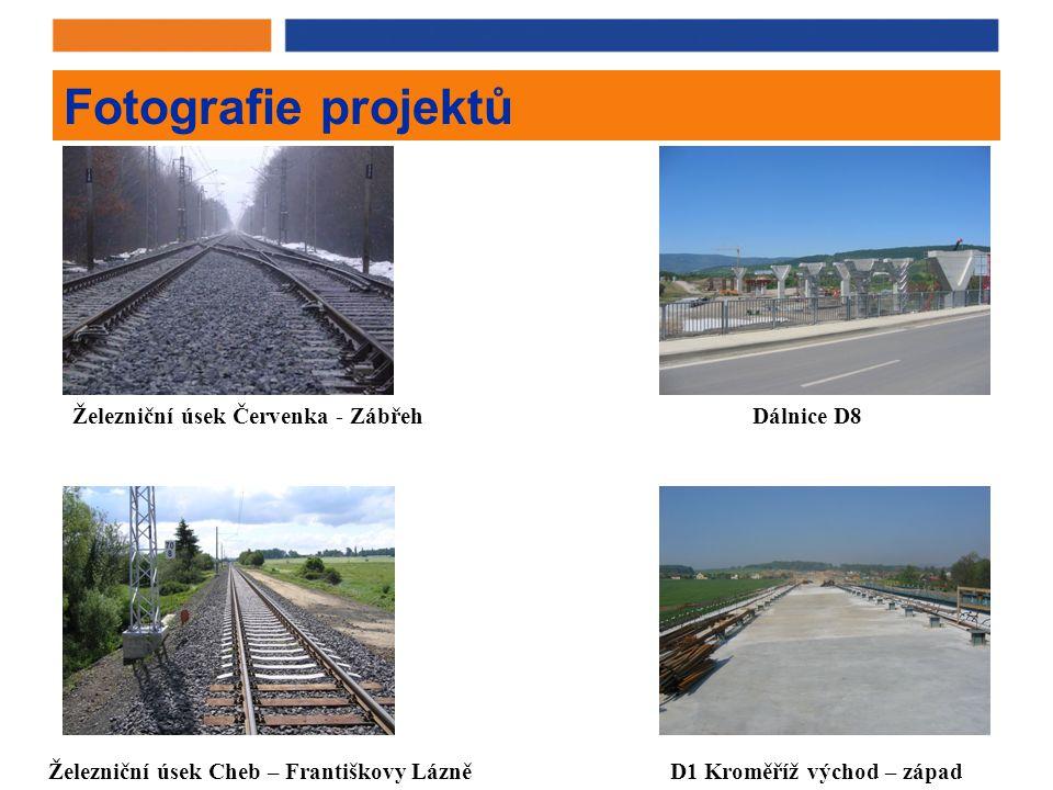 Fotografie projektů Železniční úsek Červenka - ZábřehDálnice D8 D1 Kroměříž východ – západŽelezniční úsek Cheb – Františkovy Lázně