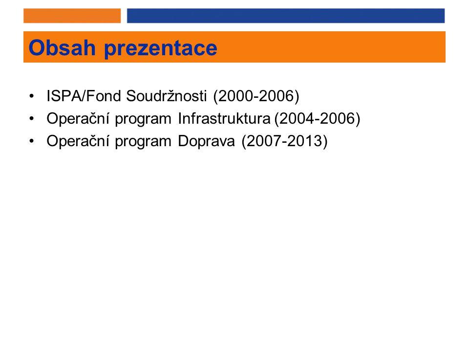 Obsah prezentace ISPA/Fond Soudržnosti (2000-2006) Operační program Infrastruktura (2004-2006) Operační program Doprava (2007-2013)