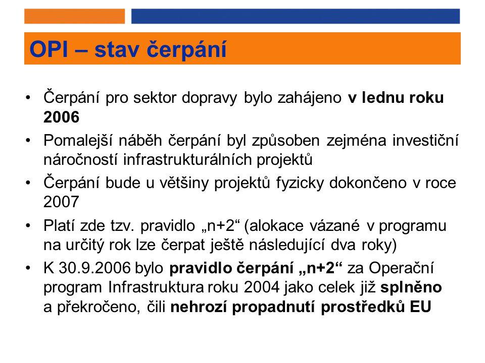 OPI – stav čerpání Čerpání pro sektor dopravy bylo zahájeno v lednu roku 2006 Pomalejší náběh čerpání byl způsoben zejména investiční náročností infrastrukturálních projektů Čerpání bude u většiny projektů fyzicky dokončeno v roce 2007 Platí zde tzv.