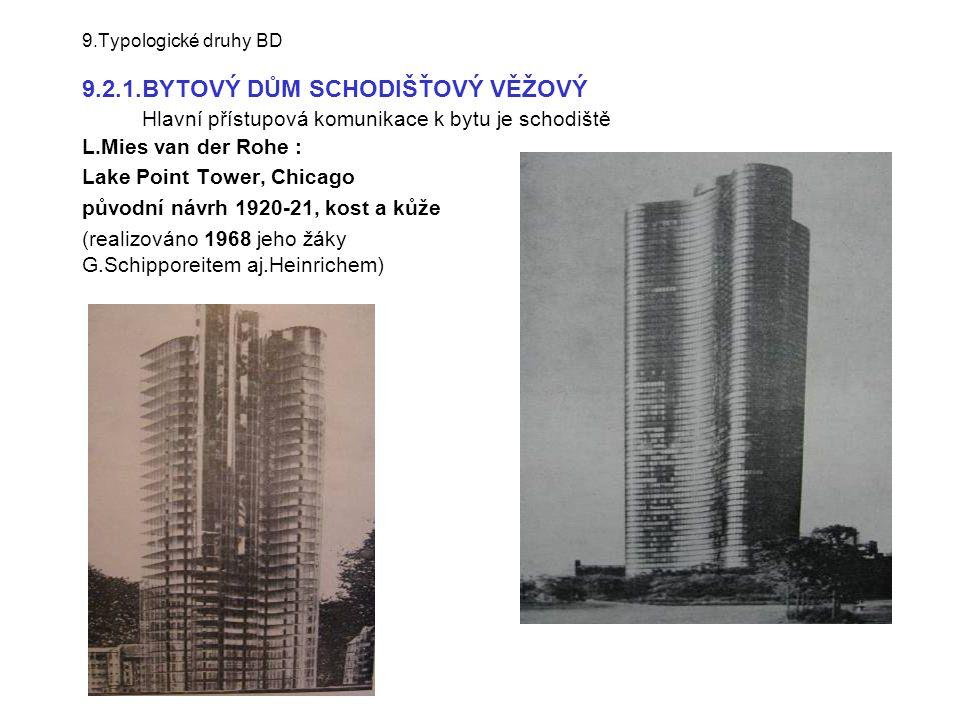 9.Typologické druhy BD 9.2.1.BYTOVÝ DŮM SCHODIŠŤOVÝ VĚŽOVÝ Hlavní přístupová komunikace k bytu je schodiště L.Mies van der Rohe : Lake Point Tower, Ch