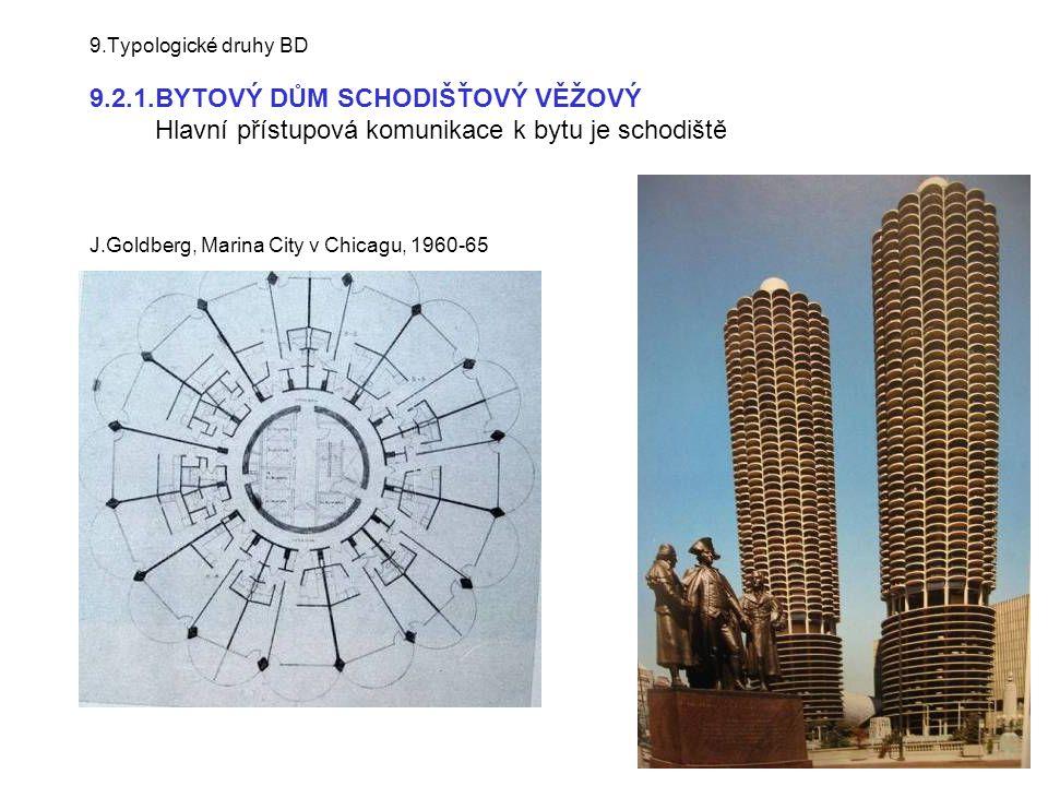 9.Typologické druhy BD 9.2.1.BYTOVÝ DŮM SCHODIŠŤOVÝ VĚŽOVÝ Hlavní přístupová komunikace k bytu je schodiště J.Goldberg, Marina City v Chicagu, 1960-65