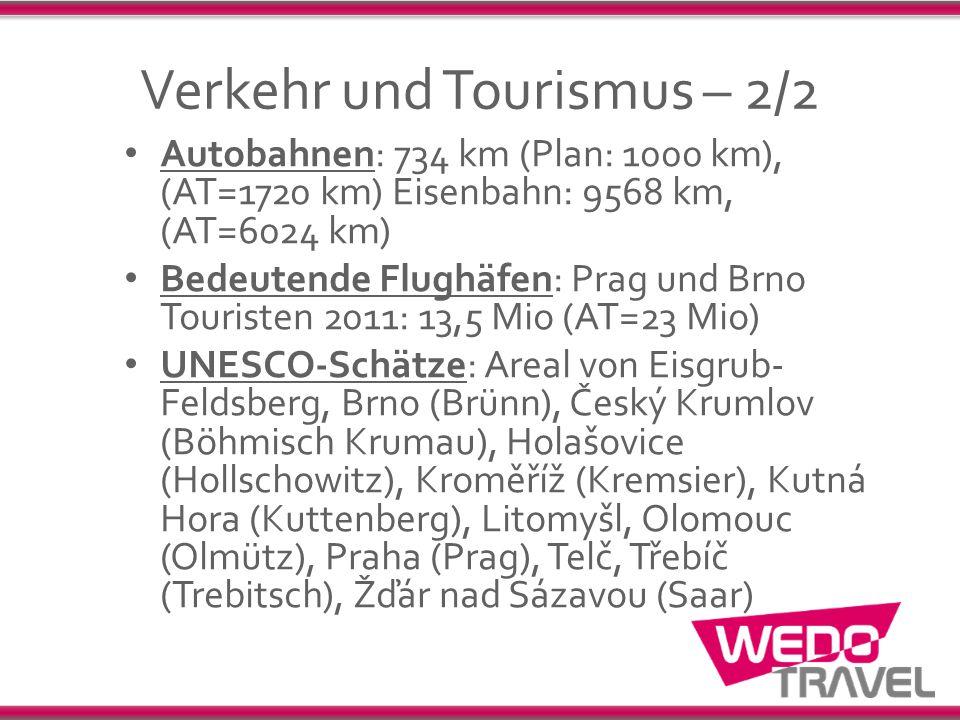 Verkehr und Tourismus – 2/2 Autobahnen: 734 km (Plan: 1000 km), (AT=1720 km) Eisenbahn: 9568 km, (AT=6024 km) Bedeutende Flughäfen: Prag und Brno Tour