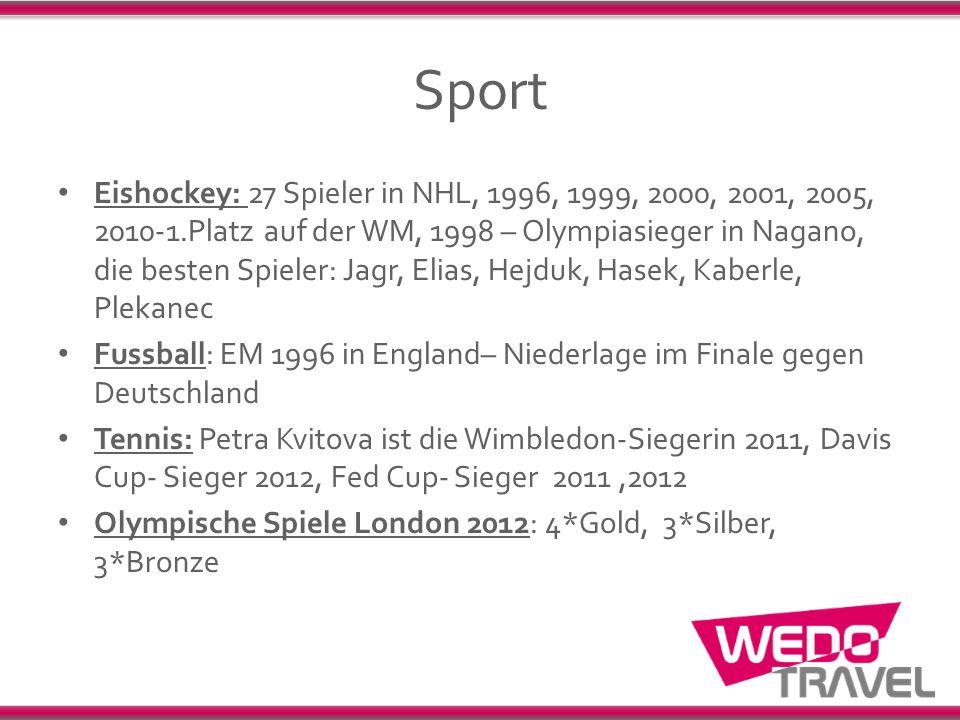 Sport Eishockey: 27 Spieler in NHL, 1996, 1999, 2000, 2001, 2005, 2010-1.Platz auf der WM, 1998 – Olympiasieger in Nagano, die besten Spieler: Jagr, E