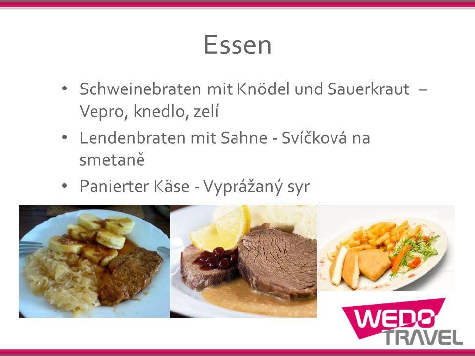 Essen Schweinebraten mit Knödel und Sauerkraut – Vepro, knedlo, zelí Lendenbraten mit Sahne - Svíčková na smetaně Panierter Käse - Vyprážaný syr
