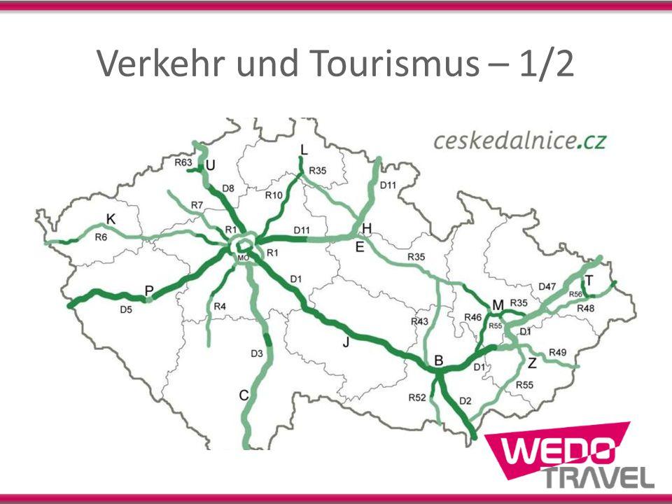 Verkehr und Tourismus – 2/2 Autobahnen: 734 km (Plan: 1000 km), (AT=1720 km) Eisenbahn: 9568 km, (AT=6024 km) Bedeutende Flughäfen: Prag und Brno Touristen 2011: 13,5 Mio (AT=23 Mio) UNESCO-Schätze: Areal von Eisgrub- Feldsberg, Brno (Brünn), Český Krumlov (Böhmisch Krumau), Holašovice (Hollschowitz), Kroměříž (Kremsier), Kutná Hora (Kuttenberg), Litomyšl, Olomouc (Olmütz), Praha (Prag), Telč, Třebíč (Trebitsch), Žďár nad Sázavou (Saar)