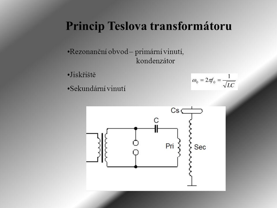 Princip Teslova transformátoru Rezonanční obvod – primární vinutí, kondenzátor Jiskřiště Sekundární vinutí
