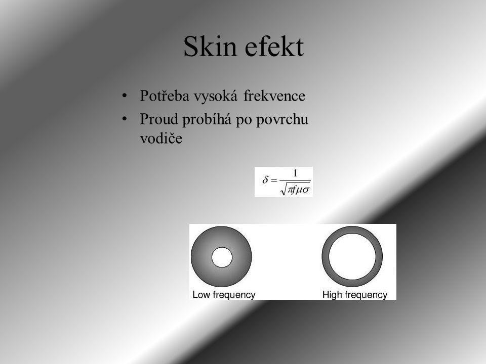 Skin efekt Potřeba vysoká frekvence Proud probíhá po povrchu vodiče
