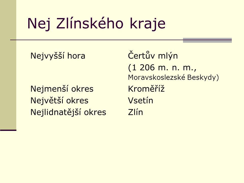 Nej Zlínského kraje Nejvyšší horaČertův mlýn (1 206 m. n. m., Moravskoslezské Beskydy) Nejmenší okresKroměříž Největší okresVsetín Nejlidnatější okres
