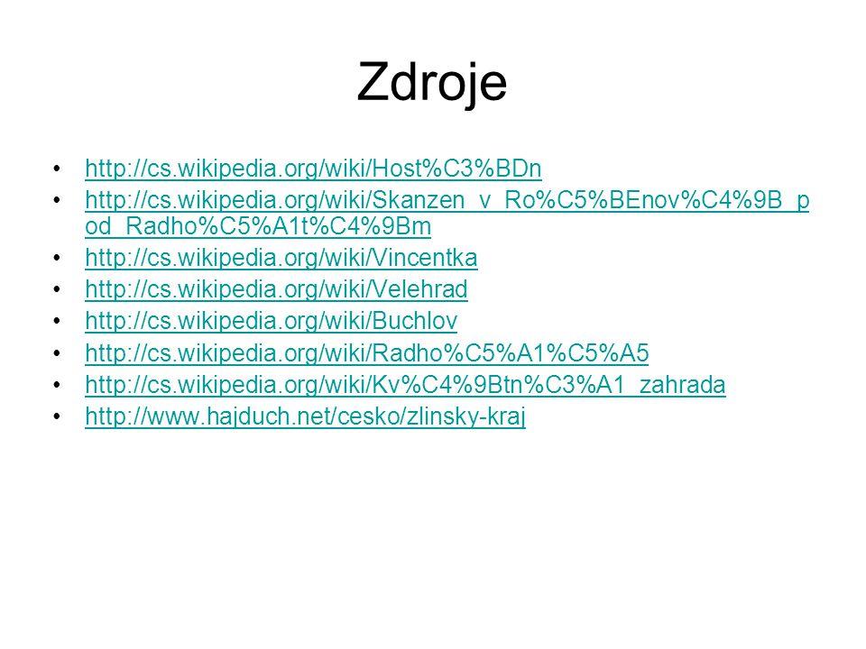 Zdroje http://cs.wikipedia.org/wiki/Host%C3%BDn http://cs.wikipedia.org/wiki/Skanzen_v_Ro%C5%BEnov%C4%9B_p od_Radho%C5%A1t%C4%9Bmhttp://cs.wikipedia.org/wiki/Skanzen_v_Ro%C5%BEnov%C4%9B_p od_Radho%C5%A1t%C4%9Bm http://cs.wikipedia.org/wiki/Vincentka http://cs.wikipedia.org/wiki/Velehrad http://cs.wikipedia.org/wiki/Buchlov http://cs.wikipedia.org/wiki/Radho%C5%A1%C5%A5 http://cs.wikipedia.org/wiki/Kv%C4%9Btn%C3%A1_zahrada http://www.hajduch.net/cesko/zlinsky-kraj