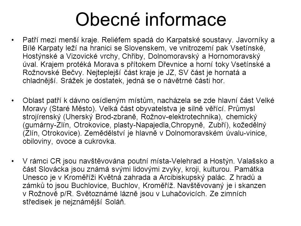 Obecné informace Patří mezi menší kraje. Reliéfem spadá do Karpatské soustavy.