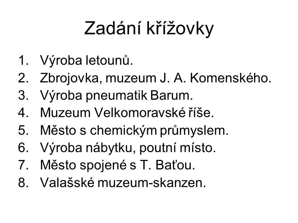 Zadání křížovky 1. Výroba letounů. 2. Zbrojovka, muzeum J.