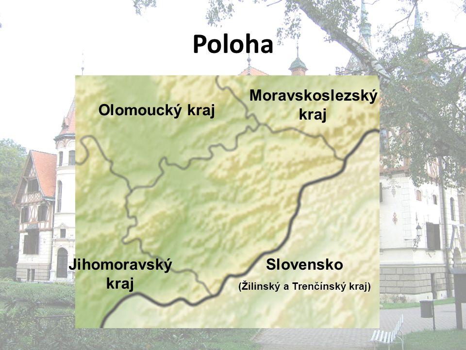 Poloha Jihomoravský kraj Olomoucký kraj Moravskoslezský kraj Slovensko (Žilinský a Trenčínský kraj)