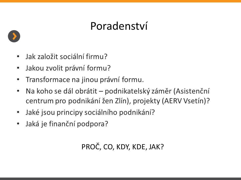 Poradenství Jak založit sociální firmu? Jakou zvolit právní formu? Transformace na jinou právní formu. Na koho se dál obrátit – podnikatelský záměr (A