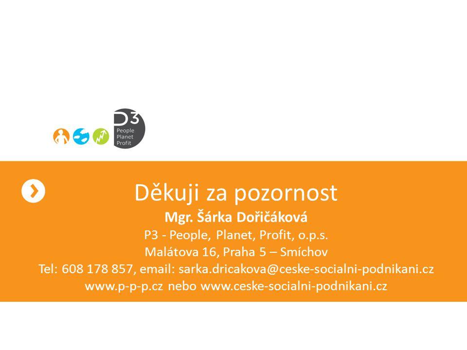 Děkuji za pozornost Mgr. Šárka Dořičáková P3 - People, Planet, Profit, o.p.s. Malátova 16, Praha 5 – Smíchov Tel: 608 178 857, email: sarka.dricakova@