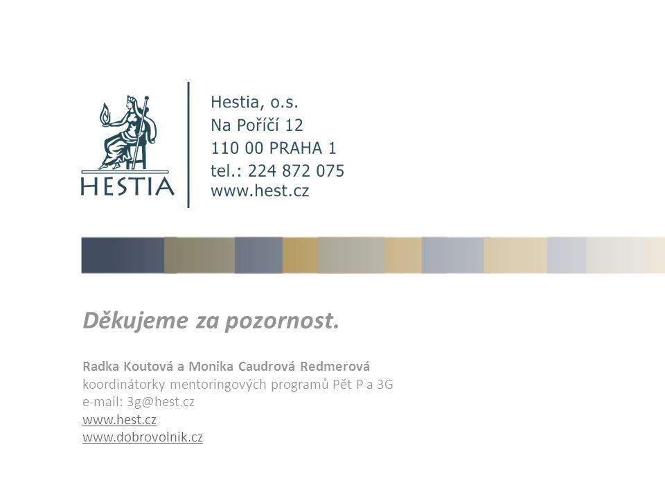 Děkujeme za pozornost. Radka Koutová a Monika Caudrová Redmerová koordinátorky mentoringových programů Pět P a 3G e-mail: 3g@hest.cz www.hest.cz www.d