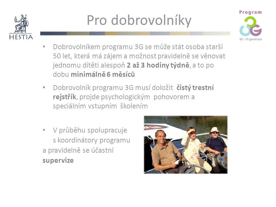 Pro dobrovolníky Dobrovolníkem programu 3G se může stát osoba starší 50 let, která má zájem a možnost pravidelně se věnovat jednomu dítěti alespoň 2 až 3 hodiny týdně, a to po dobu minimálně 6 měsíců Dobrovolník programu 3G musí doložit čistý trestní rejstřík, projde psychologickým pohovorem a speciálním vstupním školením V průběhu spolupracuje s koordinátory programu a pravidelně se účastní supervize