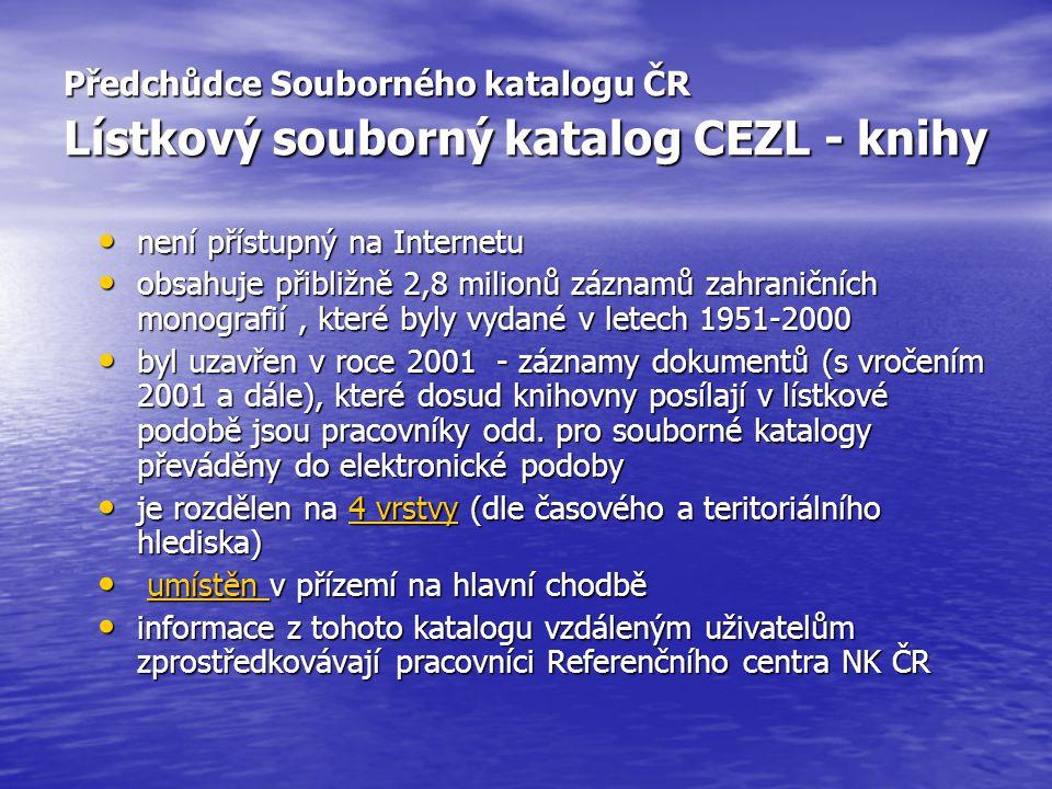 Předchůdce Souborného katalogu ČR Lístkový souborný katalog CEZL - knihy není přístupný na Internetu není přístupný na Internetu obsahuje přibližně 2,