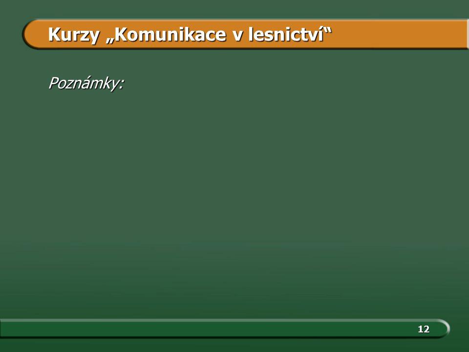 """12 Kurzy """"Komunikace v lesnictví"""" Poznámky:"""