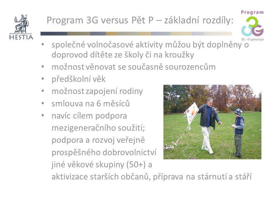 Program 3G versus Pět P – základní rozdíly: společné volnočasové aktivity můžou být doplněny o doprovod dítěte ze školy či na kroužky možnost věnovat se současně sourozencům předškolní věk možnost zapojení rodiny smlouva na 6 měsíců navíc cílem podpora mezigeneračního soužití; podpora a rozvoj veřejně prospěšného dobrovolnictví jiné věkové skupiny (50+) a aktivizace starších občanů, příprava na stárnutí a stáří