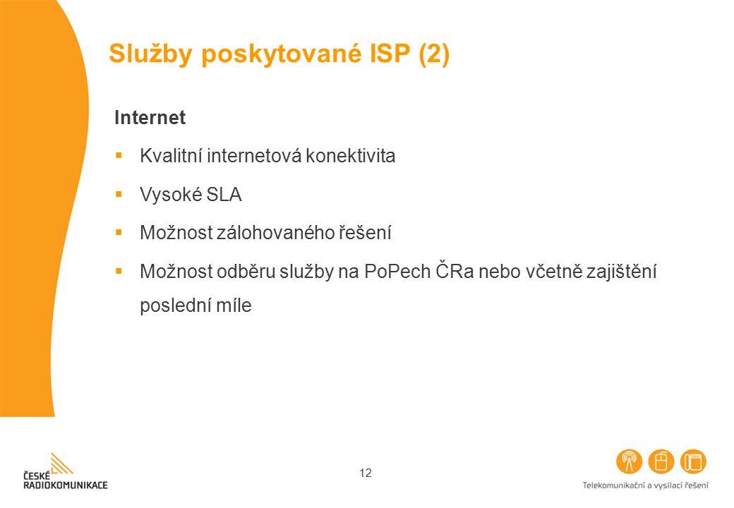 12 Služby poskytované ISP (2) Internet  Kvalitní internetová konektivita  Vysoké SLA  Možnost zálohovaného řešení  Možnost odběru služby na PoPech