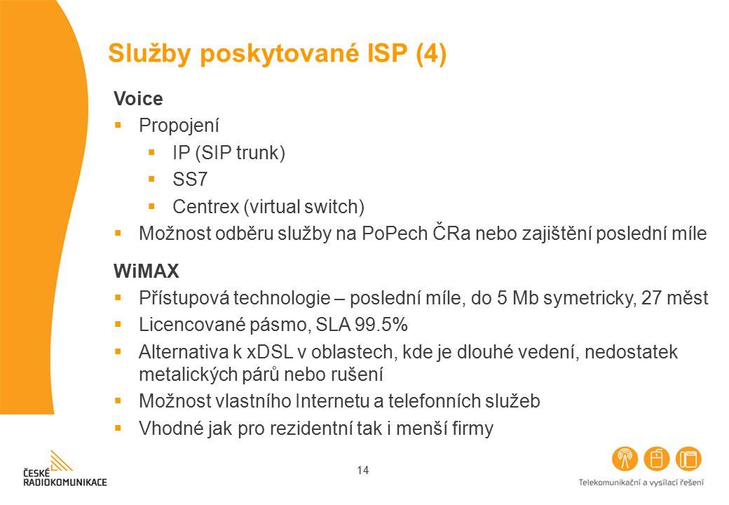 14 Služby poskytované ISP (4) Voice  Propojení  IP (SIP trunk)  SS7  Centrex (virtual switch)  Možnost odběru služby na PoPech ČRa nebo zajištění