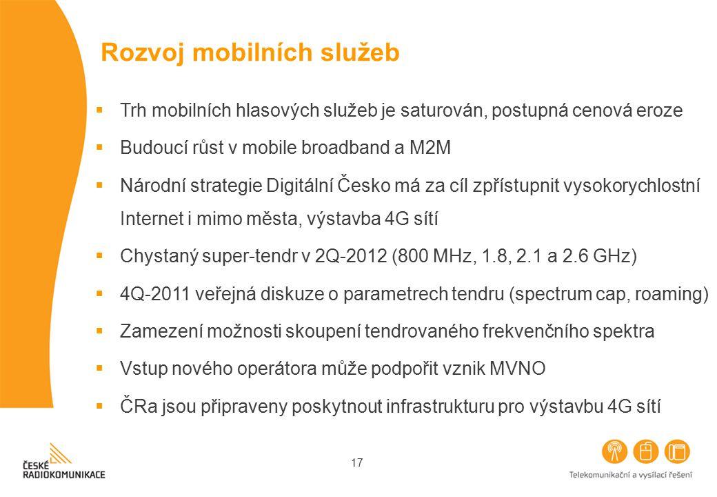 17 Rozvoj mobilních služeb  Trh mobilních hlasových služeb je saturován, postupná cenová eroze  Budoucí růst v mobile broadband a M2M  Národní stra