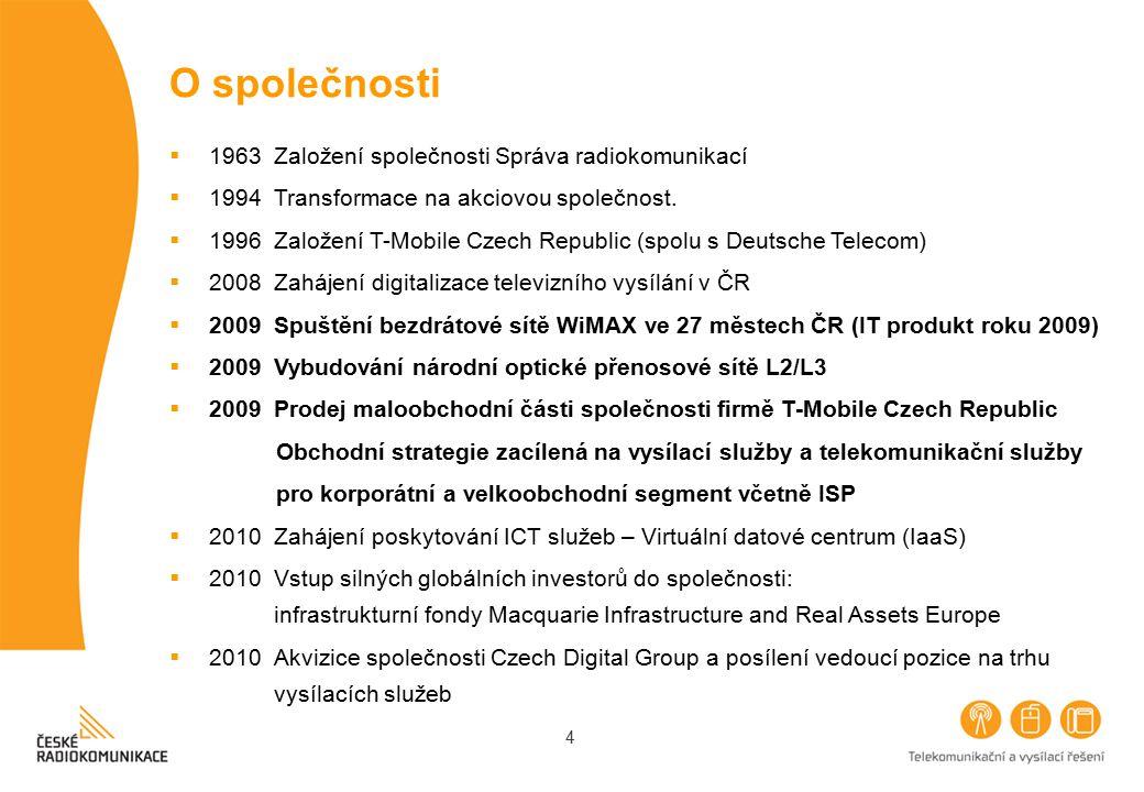 4 O společnosti  1963 Založení společnosti Správa radiokomunikací  1994 Transformace na akciovou společnost.  1996 Založení T-Mobile Czech Republic