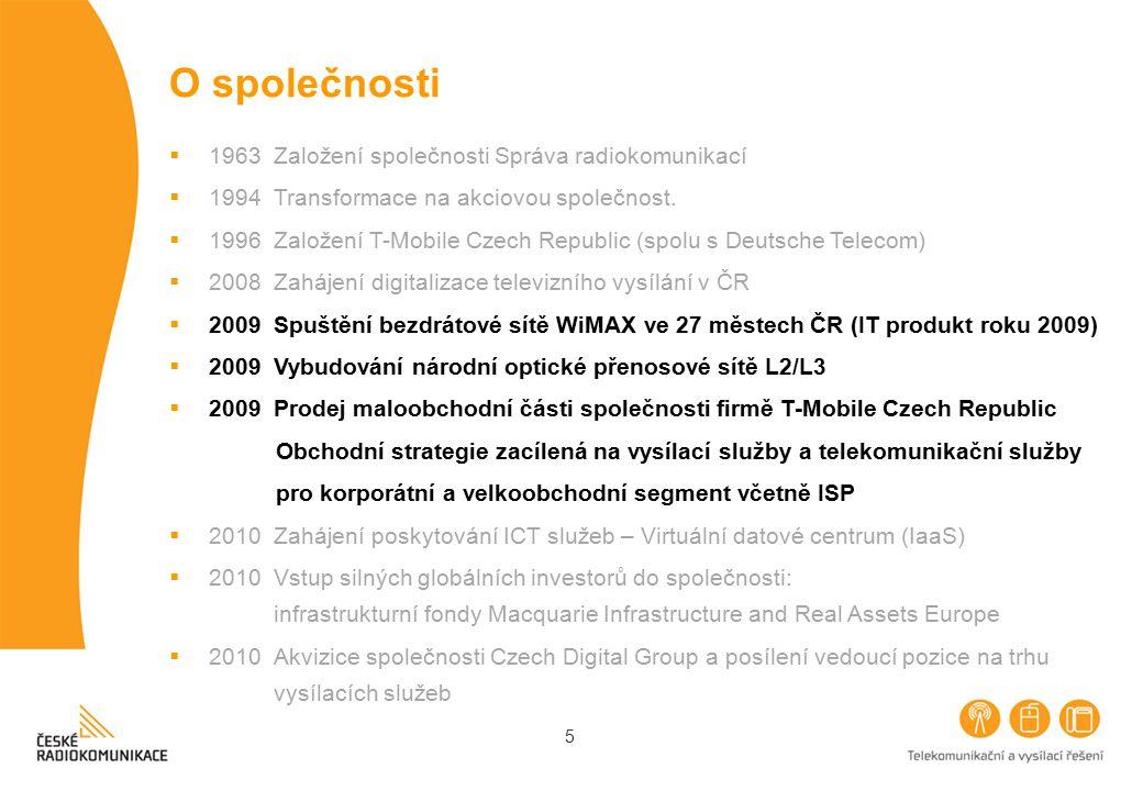 5 O společnosti  1963 Založení společnosti Správa radiokomunikací  1994 Transformace na akciovou společnost.  1996 Založení T-Mobile Czech Republic