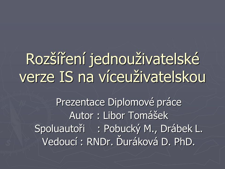 Rozšíření jednouživatelské verze IS na víceuživatelskou Prezentace Diplomové práce Autor : Libor Tomášek Spoluautoři : Pobucký M., Drábek L. Vedoucí :