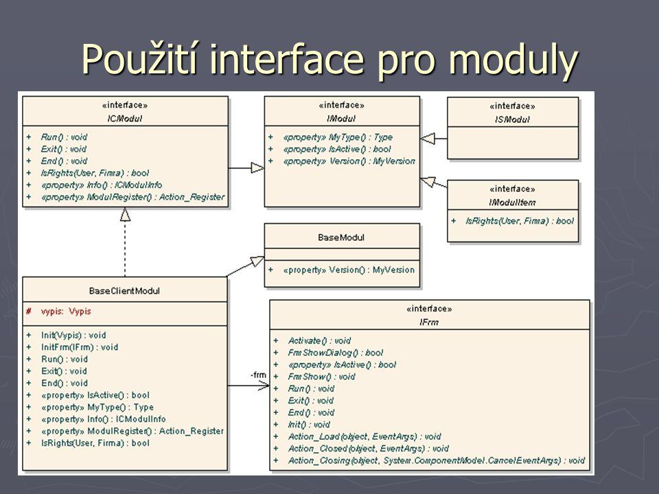 Použití interface pro moduly