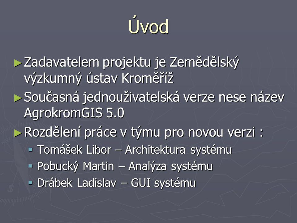 Úvod ► Zadavatelem projektu je Zemědělský výzkumný ústav Kroměříž ► Současná jednouživatelská verze nese název AgrokromGIS 5.0 ► Rozdělení práce v tým