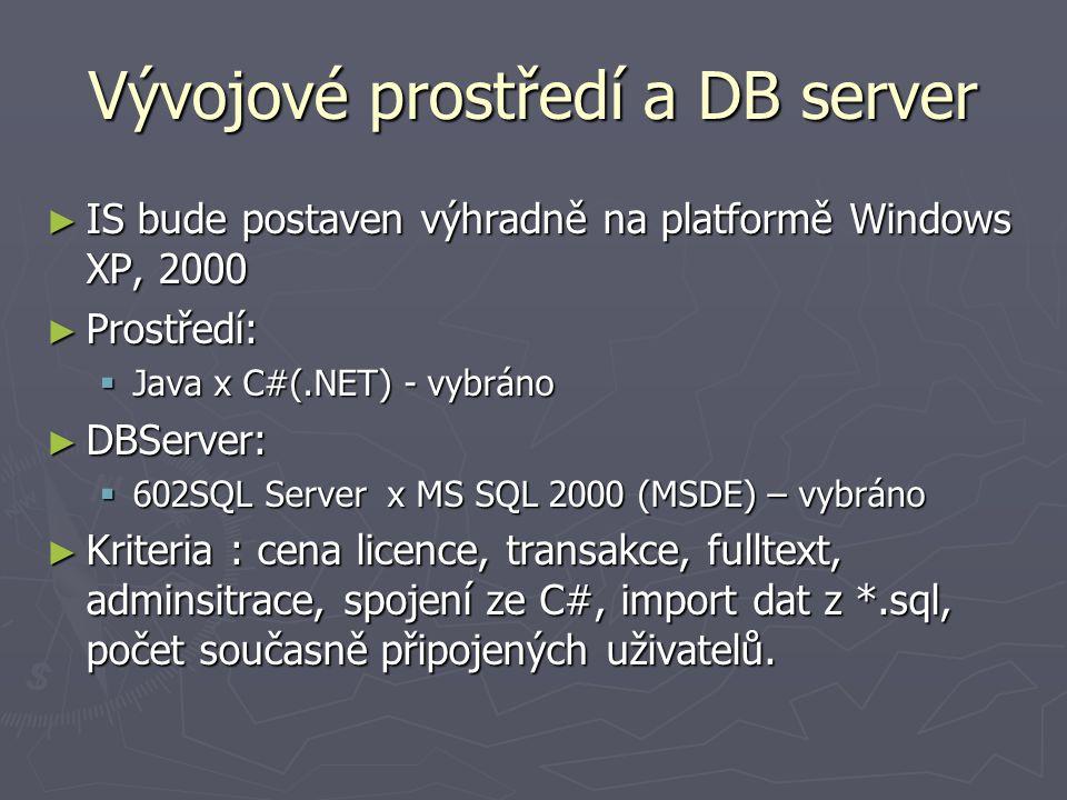 Vývojové prostředí a DB server ► IS bude postaven výhradně na platformě Windows XP, 2000 ► Prostředí:  Java x C#(.NET) - vybráno ► DBServer:  602SQL