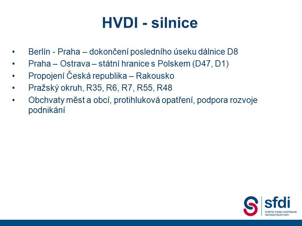 HVDI - silnice Berlín - Praha – dokončení posledního úseku dálnice D8 Praha – Ostrava – státní hranice s Polskem (D47, D1) Propojení Česká republika –