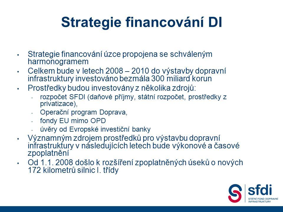 Strategie financování DI Strategie financování úzce propojena se schváleným harmonogramem Celkem bude v letech 2008 – 2010 do výstavby dopravní infras