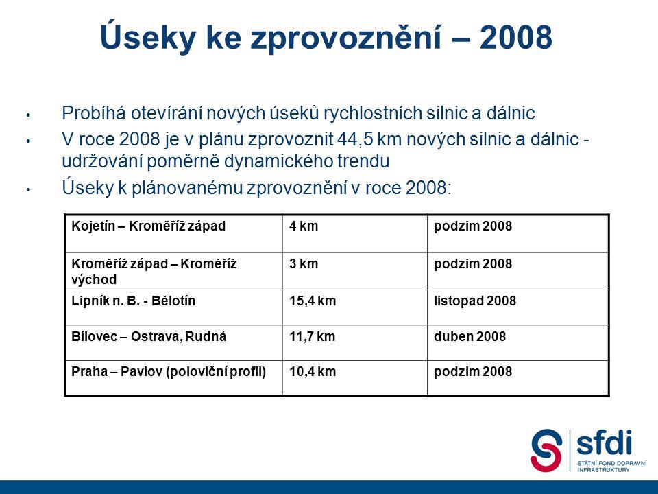 Úseky ke zprovoznění – 2008 Probíhá otevírání nových úseků rychlostních silnic a dálnic V roce 2008 je v plánu zprovoznit 44,5 km nových silnic a dáln