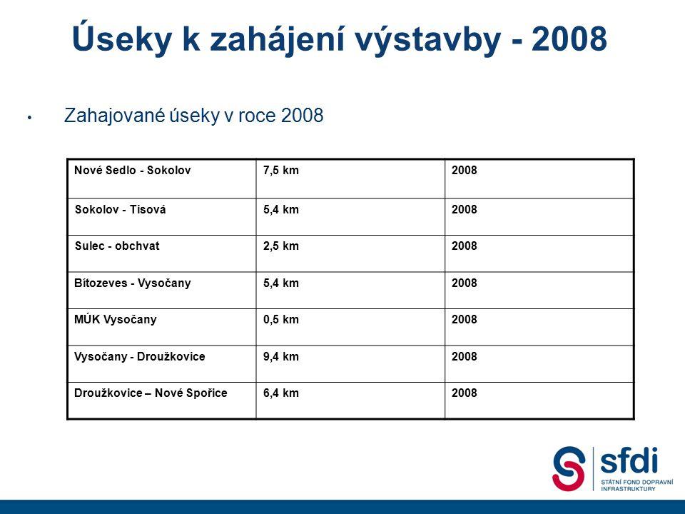 Úseky k zahájení výstavby - 2008 Zahajované úseky v roce 2008 Nové Sedlo - Sokolov7,5 km2008 Sokolov - Tisová5,4 km2008 Sulec - obchvat2,5 km2008 Bíto