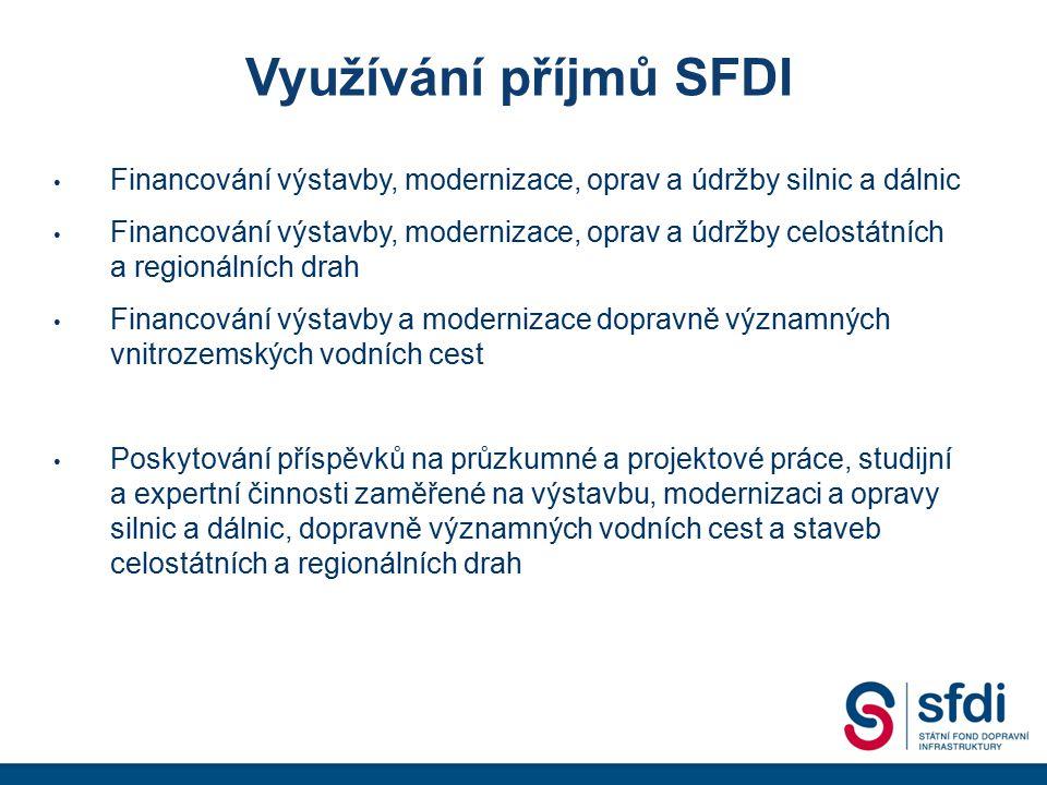 Využívání příjmů SFDI Financování výstavby, modernizace, oprav a údržby silnic a dálnic Financování výstavby, modernizace, oprav a údržby celostátních