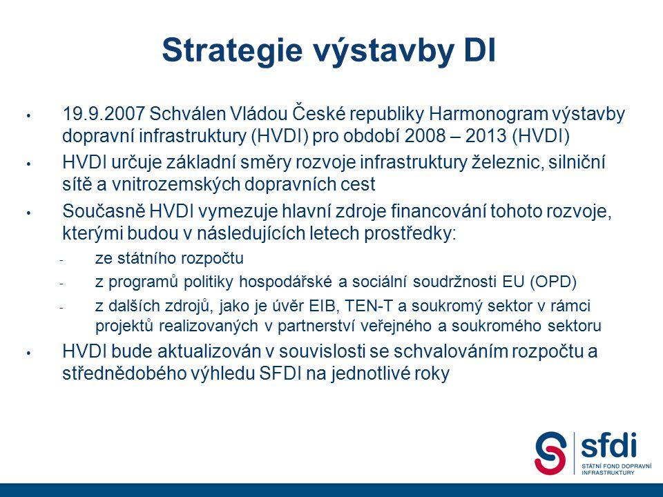 Strategie výstavby DI 19.9.2007 Schválen Vládou České republiky Harmonogram výstavby dopravní infrastruktury (HVDI) pro období 2008 – 2013 (HVDI) HVDI