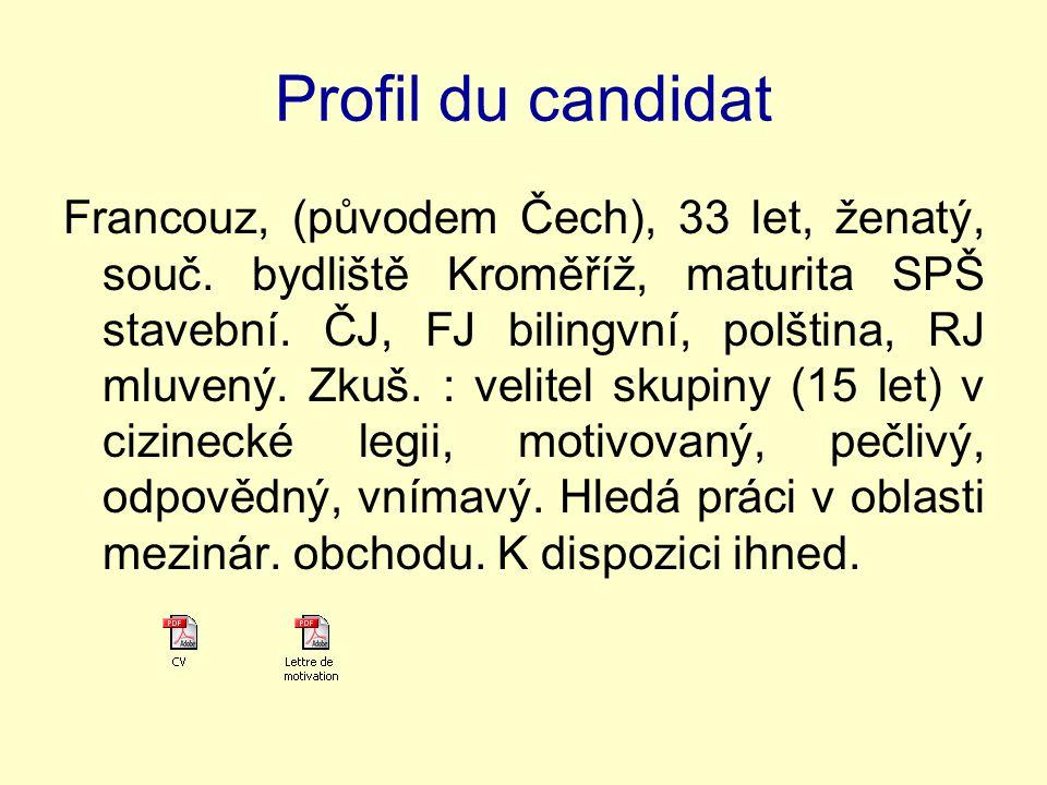 Profil du candidat Francouz, (původem Čech), 33 let, ženatý, souč.