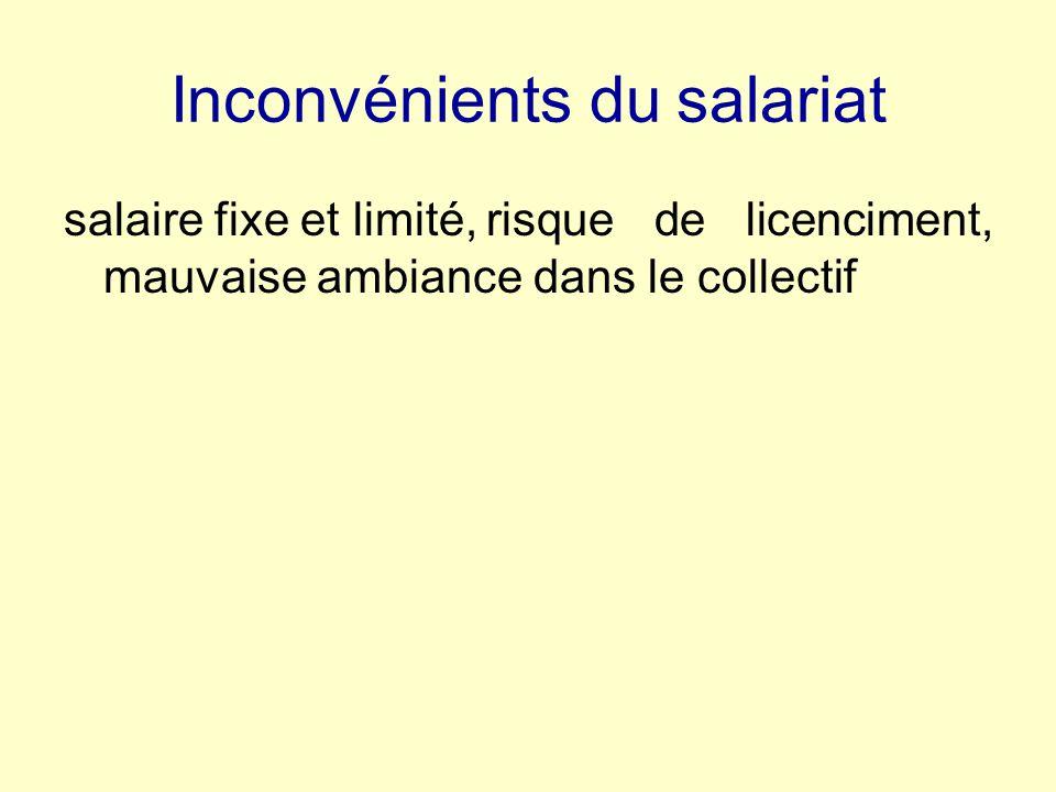 Inconvénients du salariat salaire fixe et limité,risque de licenciment, mauvaise ambiance dans le collectif