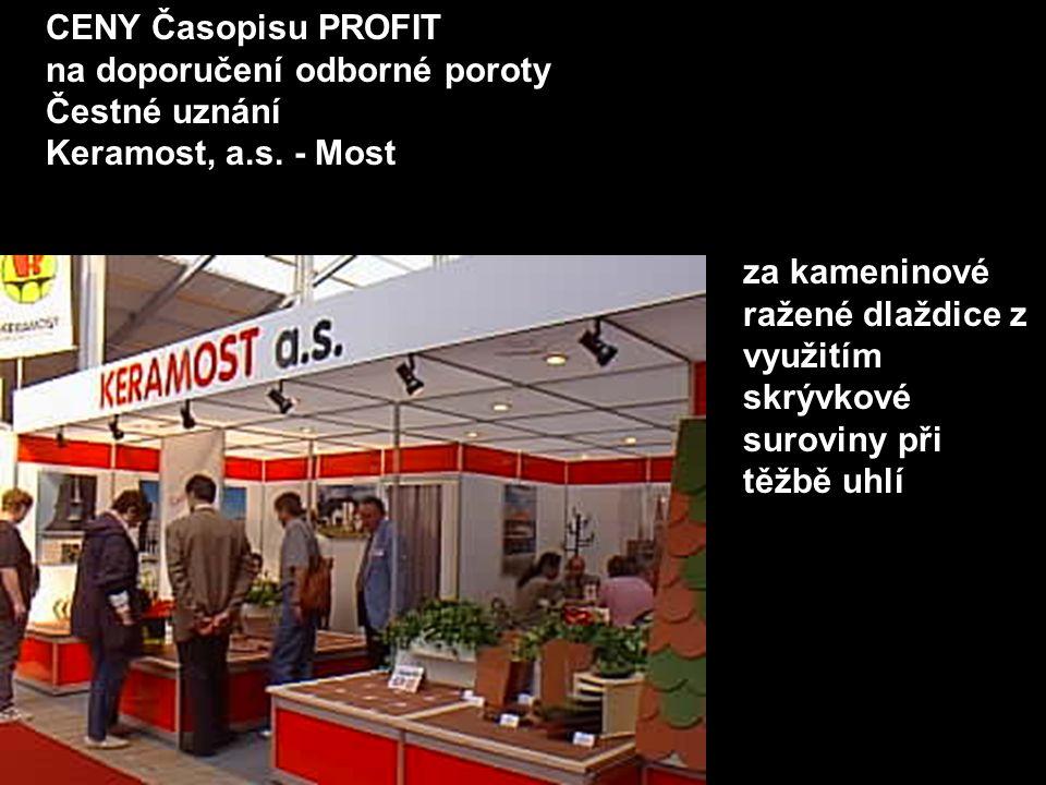 CENY Časopisu PROFIT na doporučení odborné poroty Čestné uznání Keramost, a.s. - Most za kameninové ražené dlaždice z využitím skrývkové suroviny při