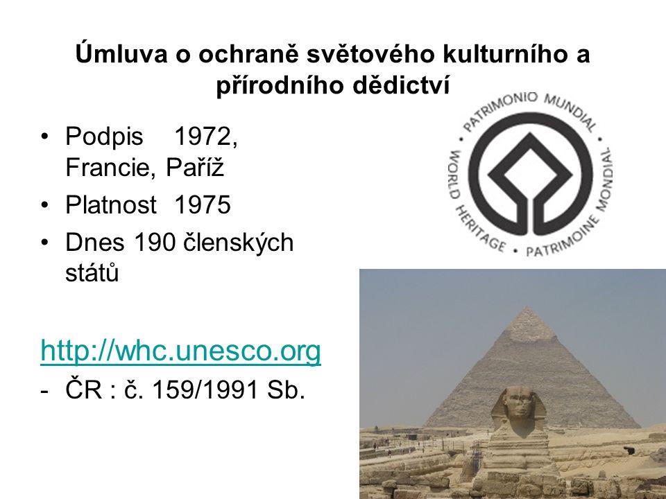 Úmluva o ochraně světového kulturního a přírodního dědictví Podpis1972, Francie, Paříž Platnost1975 Dnes 190 členských států http://whc.unesco.org -ČR