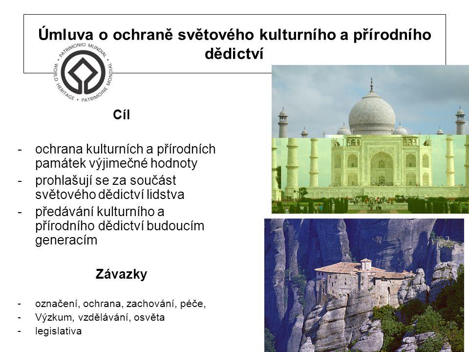 Úmluva o ochraně světového kulturního a přírodního dědictví Cíl -ochrana kulturních a přírodních památek výjimečné hodnoty -prohlašují se za součást s