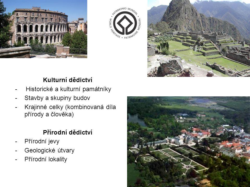Kulturní dědictví - Historické a kulturní památníky -Stavby a skupiny budov -Krajinné celky (kombinovaná díla přírody a člověka) Přírodní dědictví -Př