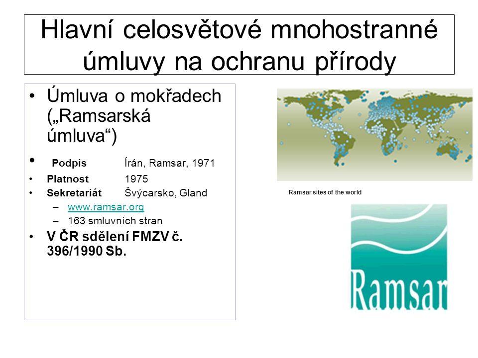 """Hlavní celosvětové mnohostranné úmluvy na ochranu přírody Úmluva o mokřadech (""""Ramsarská úmluva"""") PodpisÍrán, Ramsar, 1971 Platnost1975 SekretariátŠvý"""