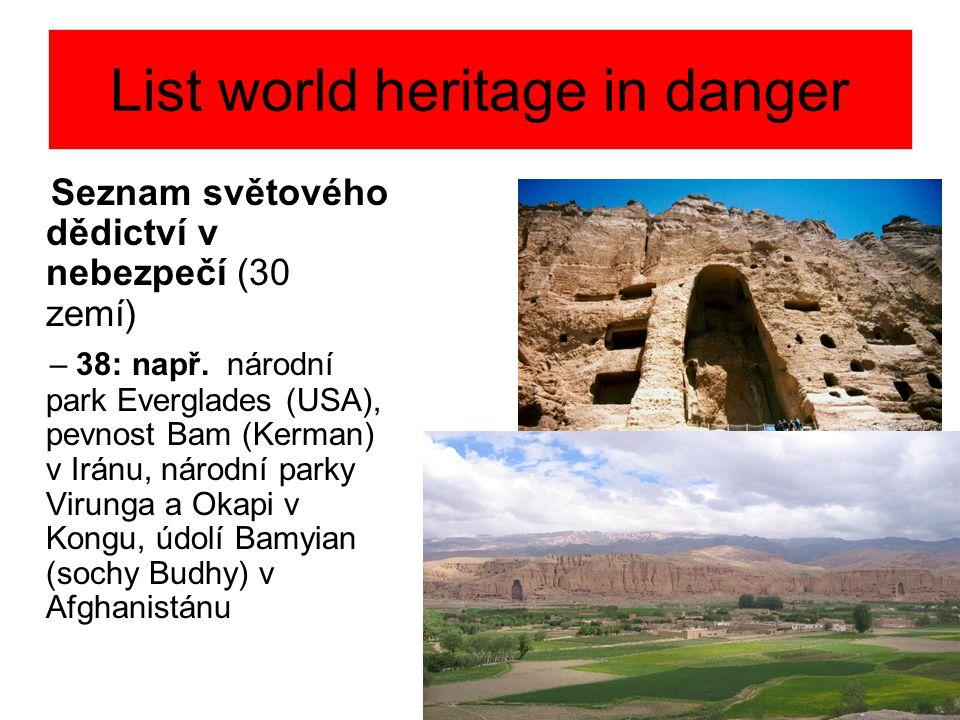 List world heritage in danger Seznam světového dědictví v nebezpečí (30 zemí) – 38: např. národní park Everglades (USA), pevnost Bam (Kerman) v Iránu,
