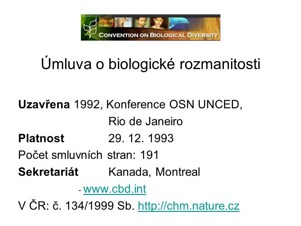 Úmluva o biologické rozmanitosti Uzavřena 1992, Konference OSN UNCED, Rio de Janeiro Platnost29. 12. 1993 Počet smluvních stran: 191 SekretariátKanada