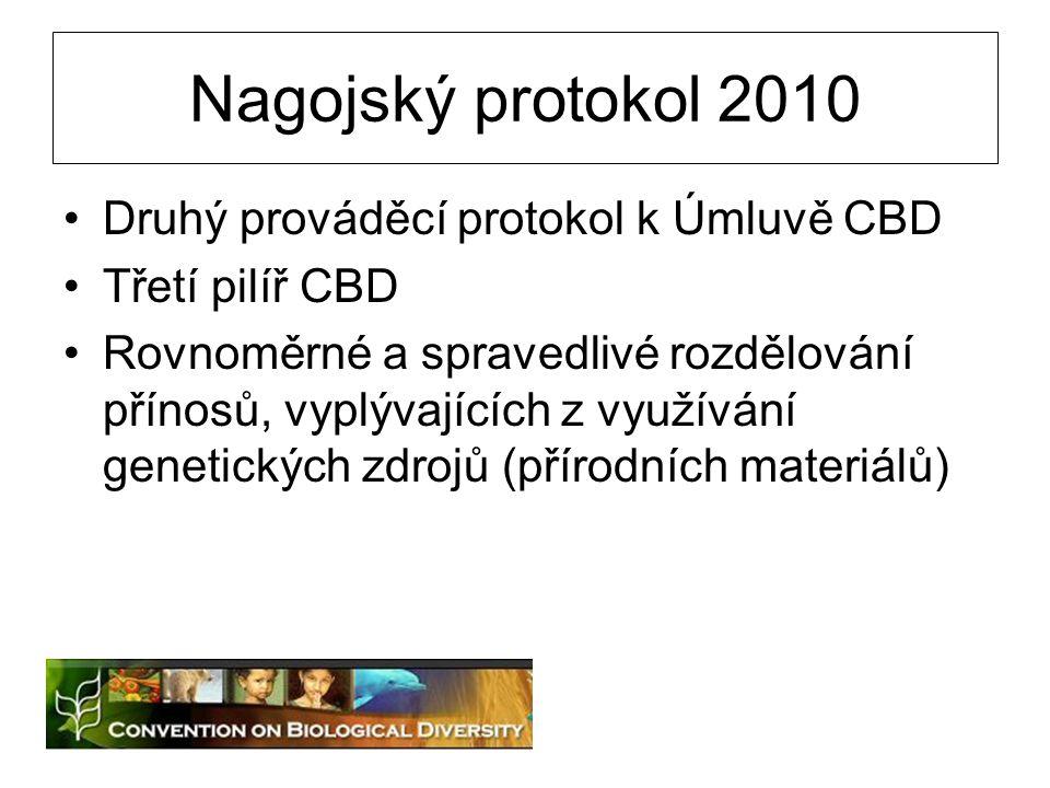 Nagojský protokol 2010 Druhý prováděcí protokol k Úmluvě CBD Třetí pilíř CBD Rovnoměrné a spravedlivé rozdělování přínosů, vyplývajících z využívání g
