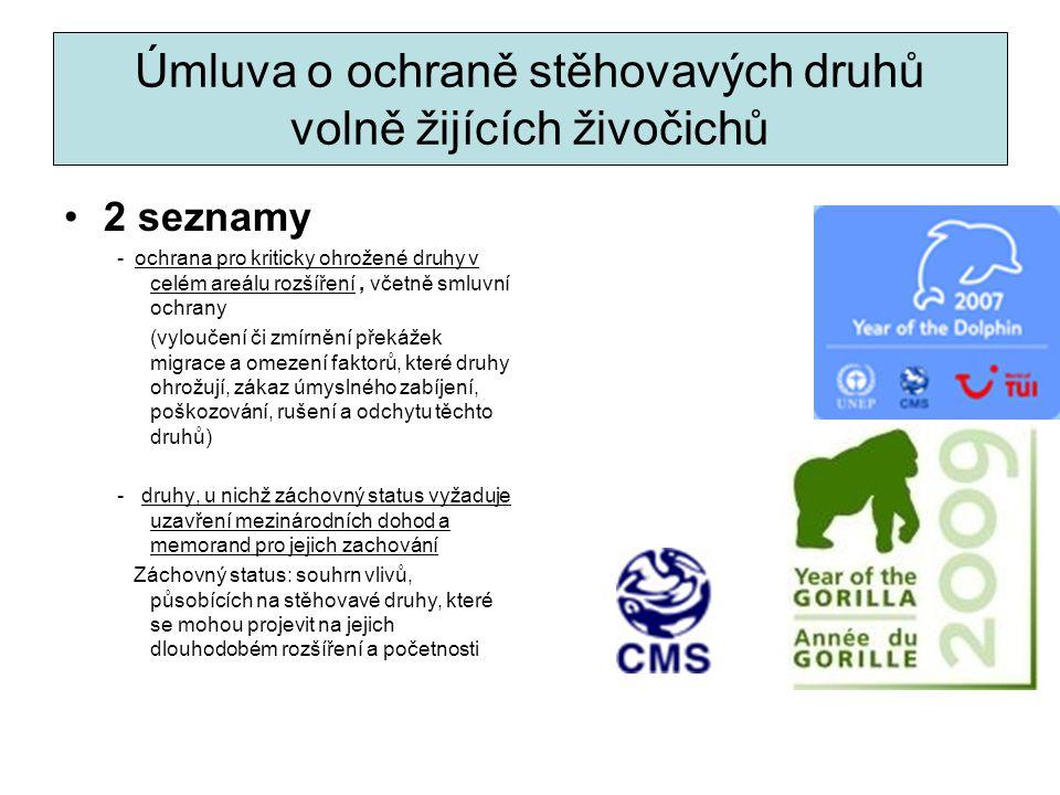 Úmluva o ochraně stěhovavých druhů volně žijících živočichů 2 seznamy - ochrana pro kriticky ohrožené druhy v celém areálu rozšíření, včetně smluvní o
